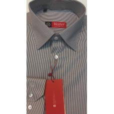 Fitted shirt, white color with gray stripes,