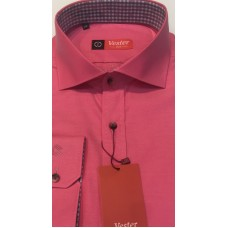 Shirt fitted, deep pink color