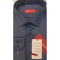 Combined shirt, fitted, gray-blue color,  Made of long-fiber Egyptian cotton. NON-IRON.