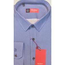 Fitted shirt, blue color, made of 100% cotton