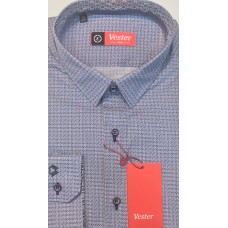 Shirt fitted, gray, with a pattern,  made of cotton with the addition of elastane.