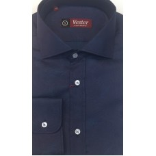 Fitted shirt, dark blue,  with a turquoise pattern