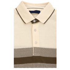 Combined Polo shirt; beige color made of 100% cotton TM DOVMONT