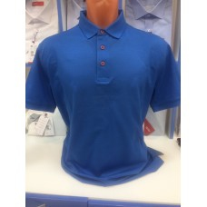 100% COTTON colletto BIANCO Polo shirt in rich blue color