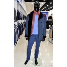 Winter double-breasted jacket Truvor with Mouton fringe men's
