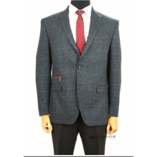 Fitted jacket in grey-blue color Truvor Classic